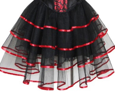 Burlesque Black Layered Tutu Skirt With Red Ribbon Trim