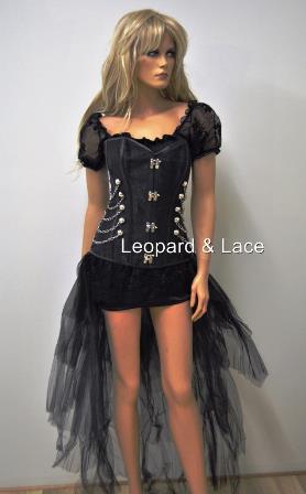 black steampunk corset chains steel boned