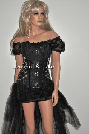black jacquard steampunk overbust corset chains