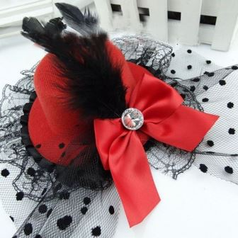 Red Burlesque Mini Top Hat With Bow Feather & Lace