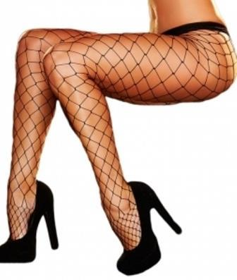 Black Fishnet Pantyhose Stockings Diamond / Large Net
