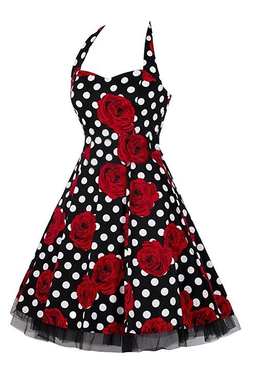 Rockabilly Black & White Polka Dot Red Rose Halter Neck Dress