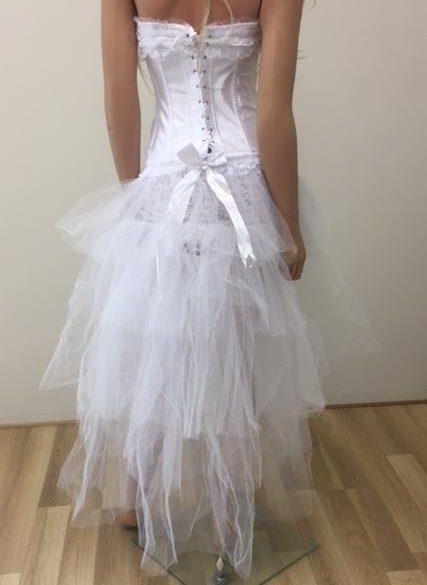 Long White Tulle Burlesque High Low Bustle Over Skirt