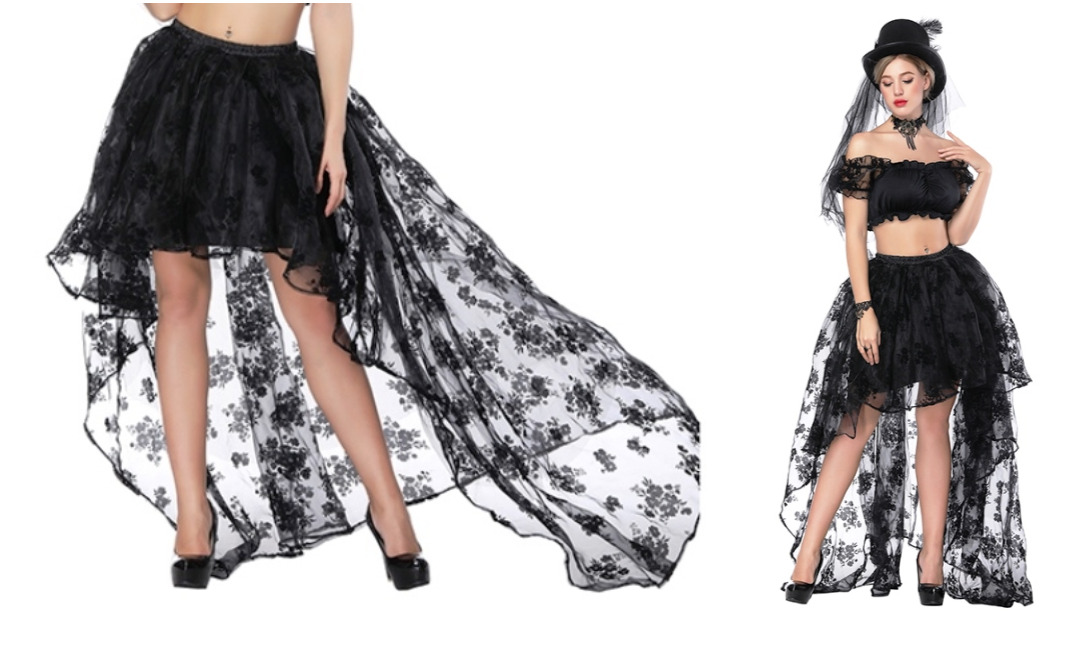 Black Victorian Burlesque Embroidered Organza High Low Skirt