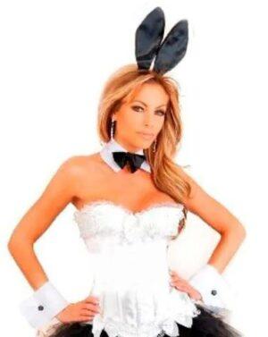 white playboy bunny corset costume