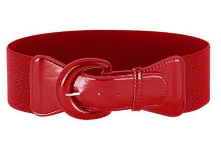 Red Elastic Corset Stretch Cinch Retro Belt