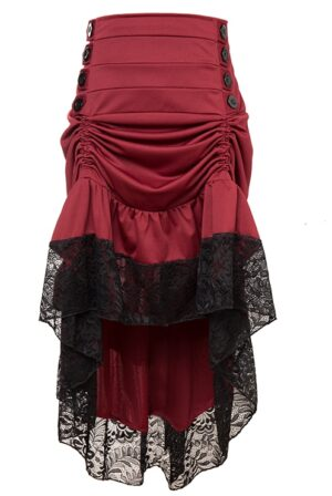 Plus Size Burgundy Red Victorian Burlesque Steampunk High Low Skirt Lace Trim