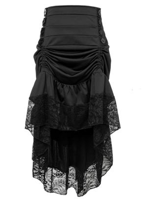 Black Victorian Burlesque Steampunk High Low Skirt Lace Trim