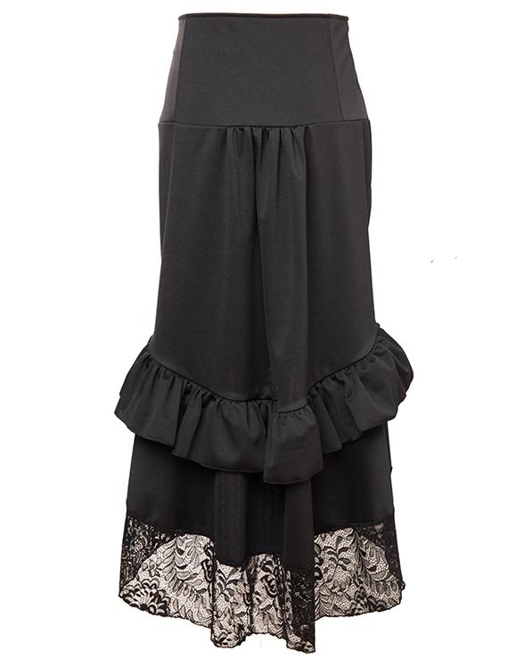 Black Victorian Burlesque Steampunk High Low Skirt