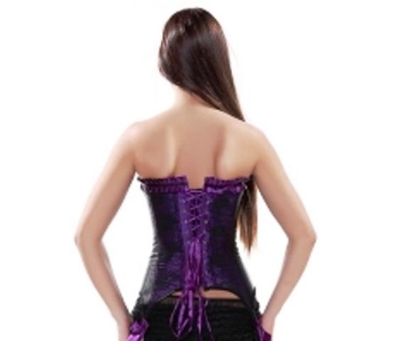 Purple & Black Burlesque Corset With Garters