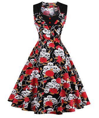 Skulls & Roses Day of Dead Rockabilly Retro Swing Dress