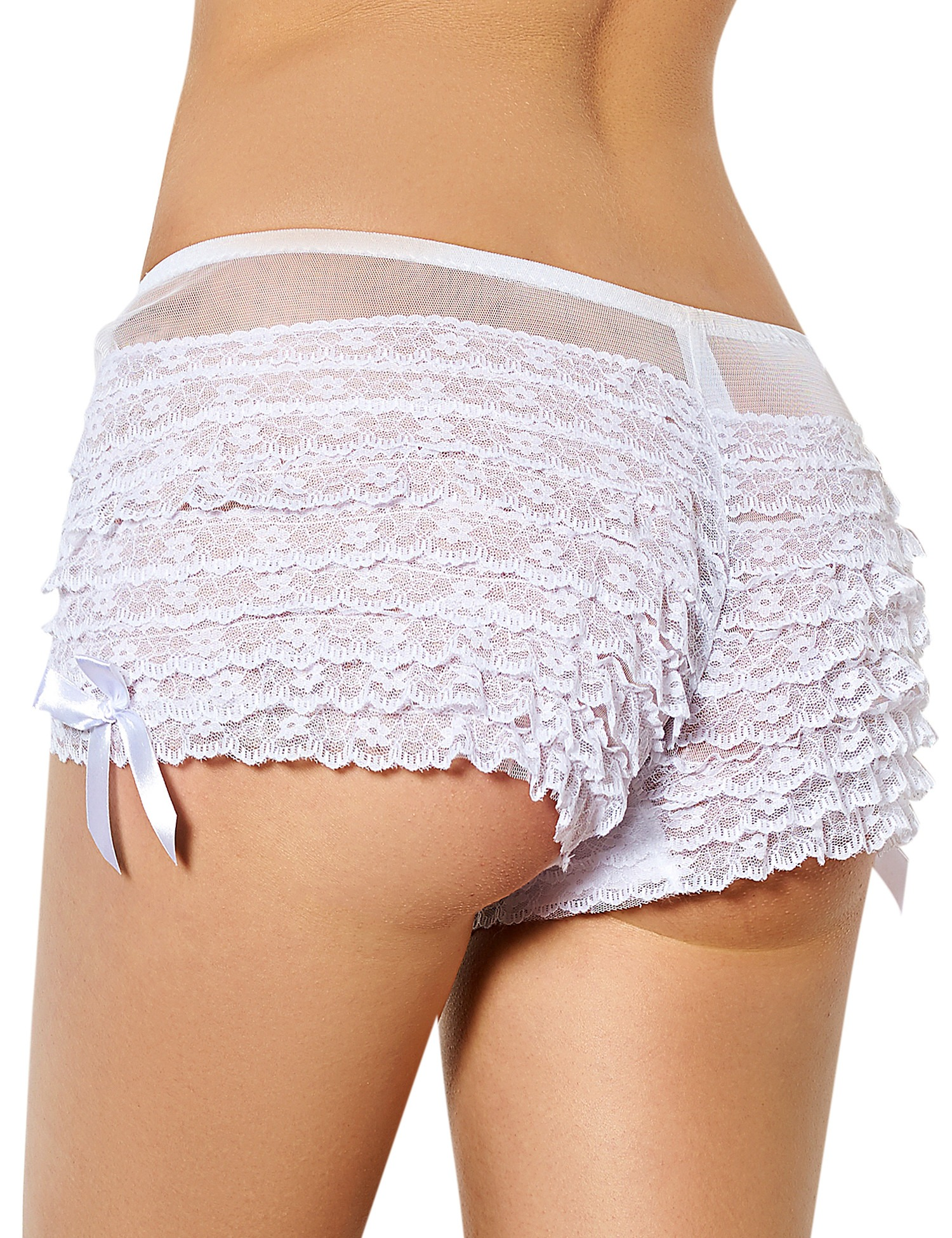 White Burlesque Frilly Lace Sheer Boyshort Knickers Side Bows