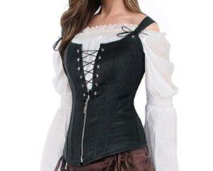 Black Faux Leather Steampunk Corset Vest