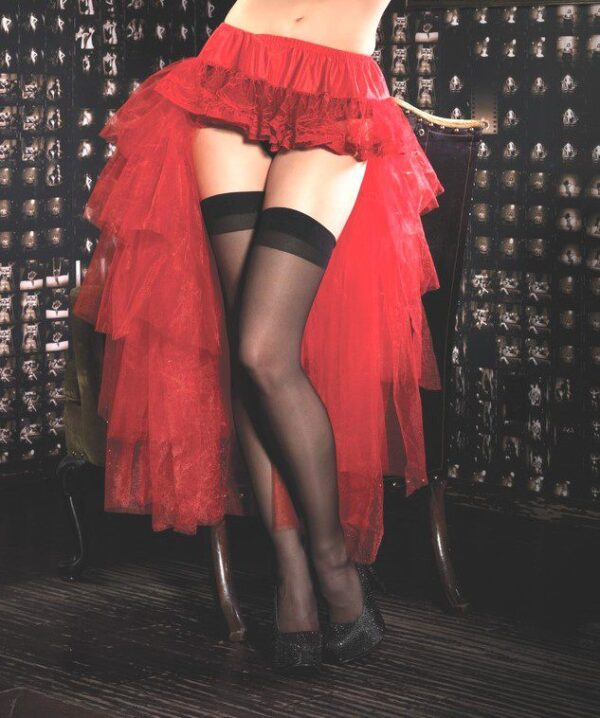 Red Tulle Burlesque High Low Layered Bustle Over Skirt