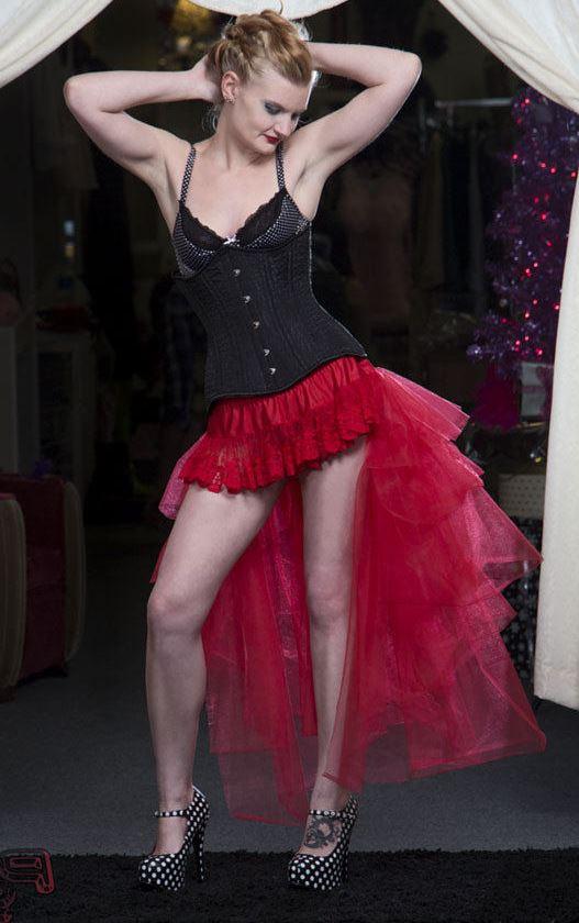 red burlesque bustle skirt