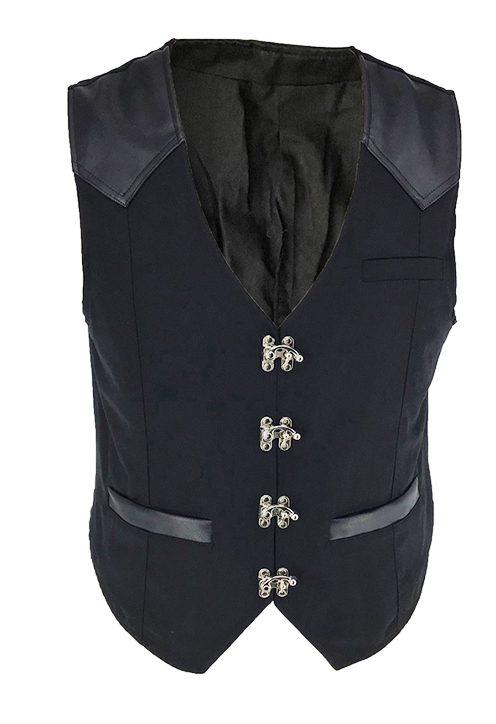 Men's Black Steampunk Waistcoat Vest Faux Leather Trim & Buckles