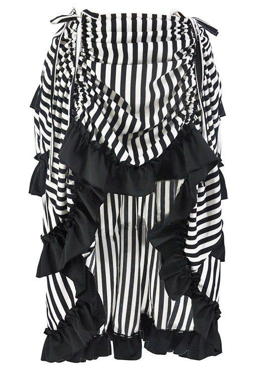 Black & White Striped Multi Layered Burlesque Gothic Hi Low Skirt.
