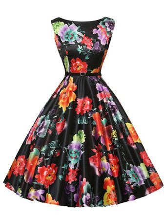 Floral Retro Vintage Swing Dress