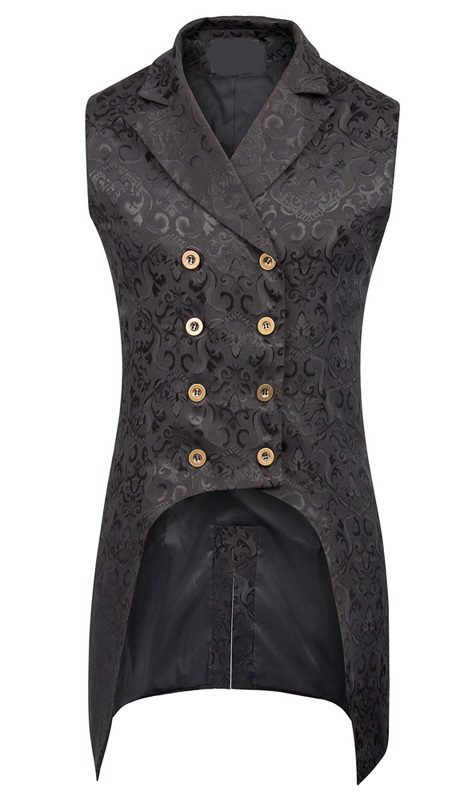 Mens Black Steampunk Jacquard Double Breasted Waistcoat Vest