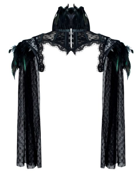 Burlesque Victorian Gothic Black Feather High Neck Cape Shrug Long Sleeves