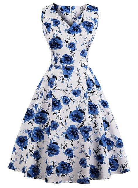 White Blue Floral Retro Vintage Swing Dress