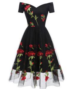 retro black off shoulder vintage dress embroidered red roses