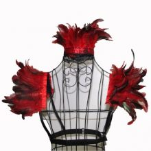 Burlesque Red Feather Collar & Shoulder Bands
