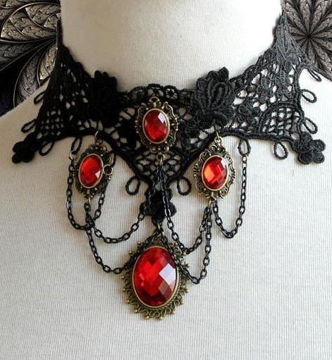Vintage Punk Gothic Vampire Black Red Choker Necklace