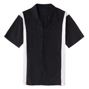 Men's vintage style 50's 60's Rockabilly Retro Bowling Shirt Blac