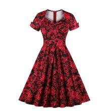 red floral retro vintage dress