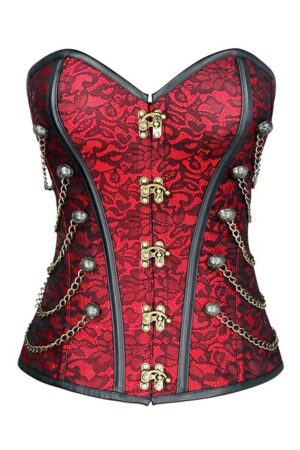 Red brocade steampunk corset with chains