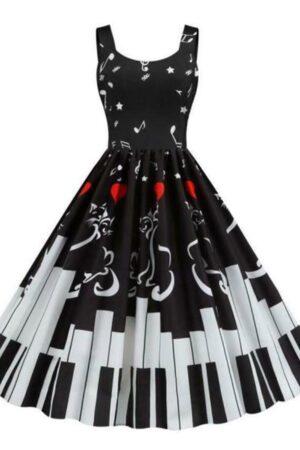 Black Music Notes Piano Keyboard Keys Hearts Retro Vintage Dress