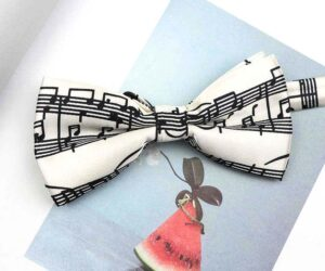 retro music notes bow tie