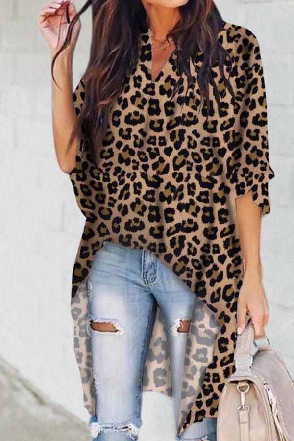 Leopard Print V Neck High Low Top