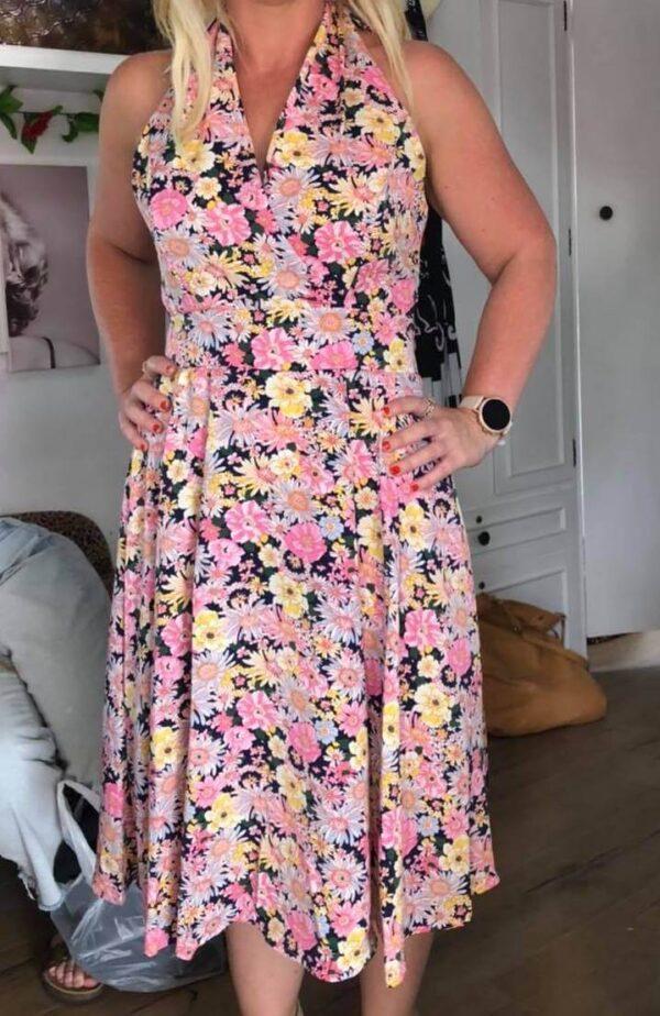 Pink Multi Coloured Floral Halter Neck Retro Rockabilly Dress With Belt