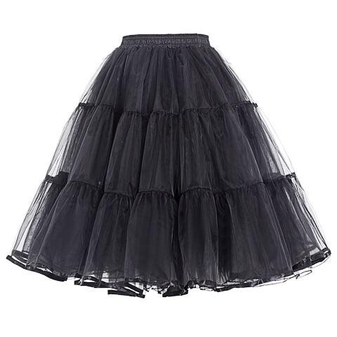 Black Retro Rockabilly Swing A Line Layered Crinoline 50's Petticoat