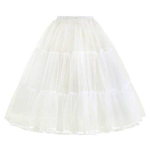 White Retro Rockabilly Swing A Line Layered Crinoline 50's Petticoat