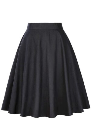 Black Retro A Line Skirt