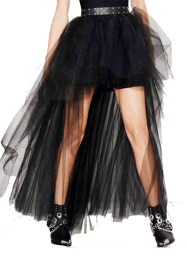 Black Mesh High Waist Asymmetric Gothic Burlesque High Low Skirt