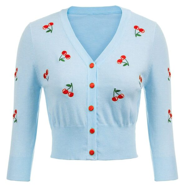 Blue Cherry Retro Crop Cardigan