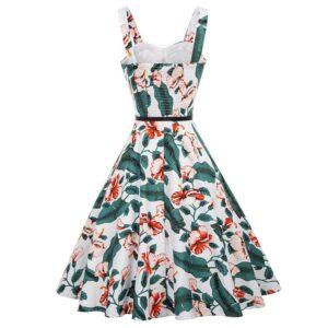 Hibiscus Leaf Floral Retro Dress