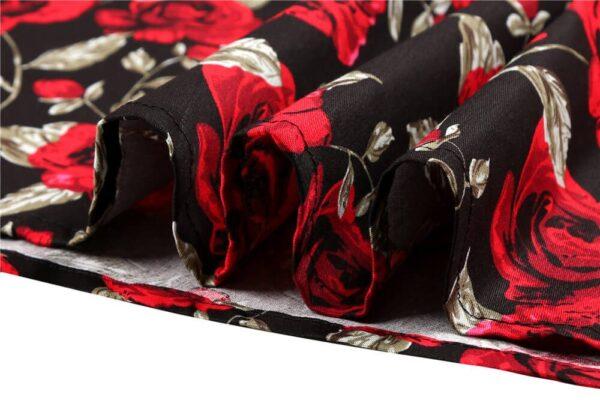 Black Red Rose Retro Dress
