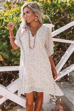 White Leopard Print Shift Mini Dress