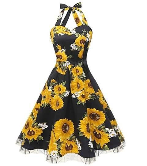 Sunflower Halter Neck Retro Vintage Rockabilly Dress