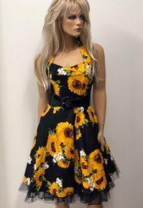 sunflower halter neck retro swing dress